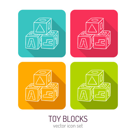 simple line drawing: Vector line art toy blocks for kids icon set in four color variations with flat style long shadows, baby store web interface design elements isolated on white Illustration