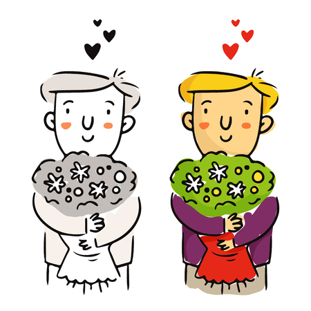 st  valentine's day: Cute freehand cartoon vector character, young man in love with flower bouquet, bright St. Valentines Day sketch in monochrome and in color isolated on white