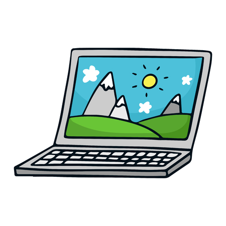 laptop isolated: Cute vector doodle sketch of laptop, isolated on white