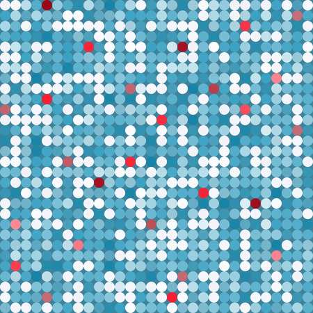 accents: Vector abstract mosaic seamless pattern with bright circles in blue tones with red accents Illustration