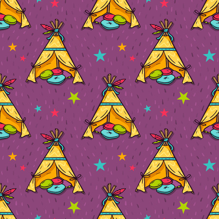native american baby: Vector seamless pattern with indian wigwam for kids room and stars
