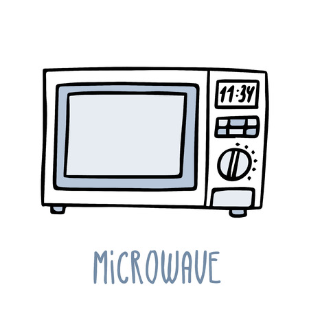 Cute vector doodle sketch microwave oven in blue tones, isolated on white