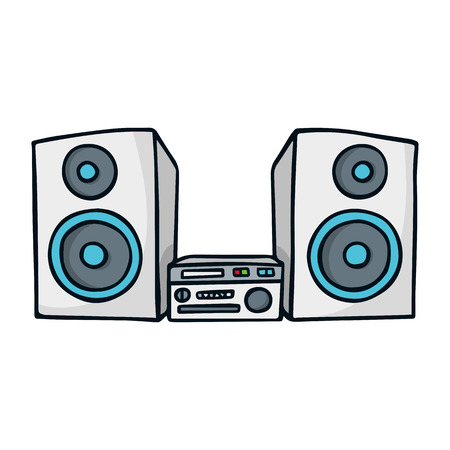 sound system: Vector doodle sketch illustration of sound system isolated on white