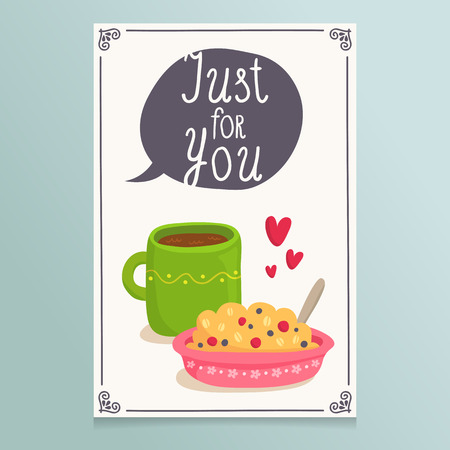 Valentines Day greeting card design with illustration of romantic breakfast served, cup of tea and porridge with hearts and lovely speech bubble banner