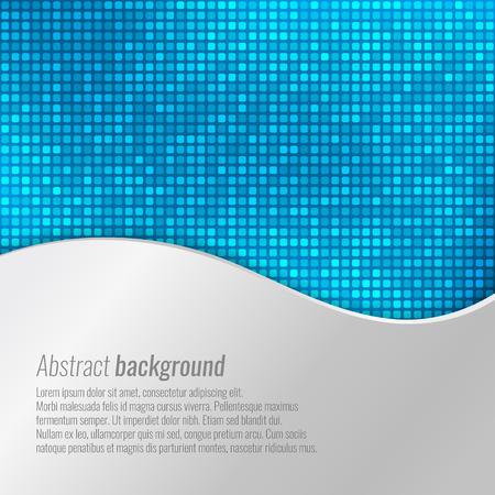 Elegante vettore sfondo blu astratto con piccole piazze e design metallico ondulato Vettoriali