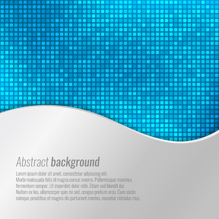 Stylish vector blue abstract background with tiny squares and metallic wavy design
