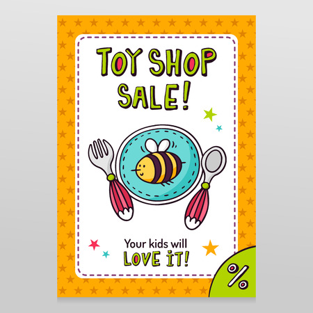 throwaway: Toy shop bright vector sale flyer design with baby tableware - plate, fork and spoon - isolated on white with orange starry pattern background Illustration