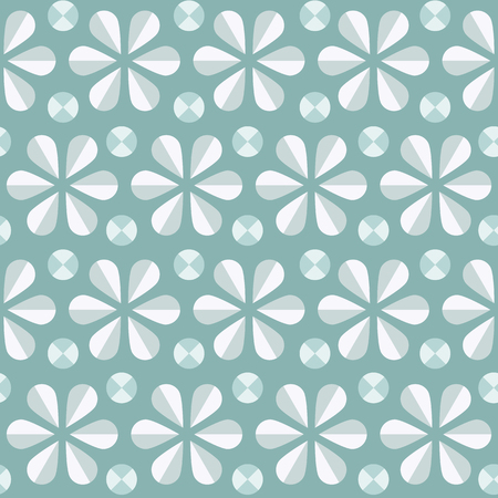 60s: Vector abstract seamless pattern with blue origami flowers and dots, 60s vintage retro style background Illustration