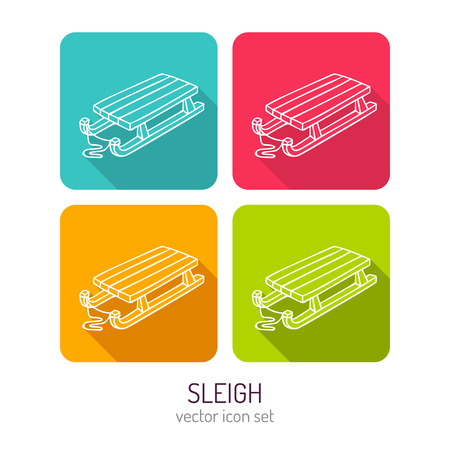 white winter: Vector line art kids wooden sleigh icon set in four color variations with flat style long shadows, baby store web interface design elements isolated on white