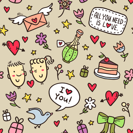 Valentines Day vector seamless pattern with hearts, flowers, bows, stars, gifts, envelopes and other romantic elements Illustration