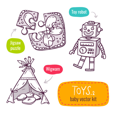 native american baby: Vector line art icon set with baby toys - jigsaw puzzle, vintage robot and wigwam - isolated on white