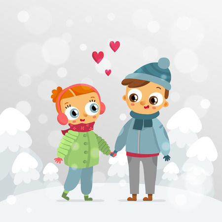 st  valentine's day: Romantic couple - St. Valentines Day vector greeting card design template with cute girl and boy in love holding hands on snowy forest background