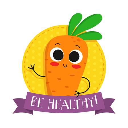 catchword: Carrot, cute vegetable vector character badge, bright illustration on dotted round background with Be healthy! slogan