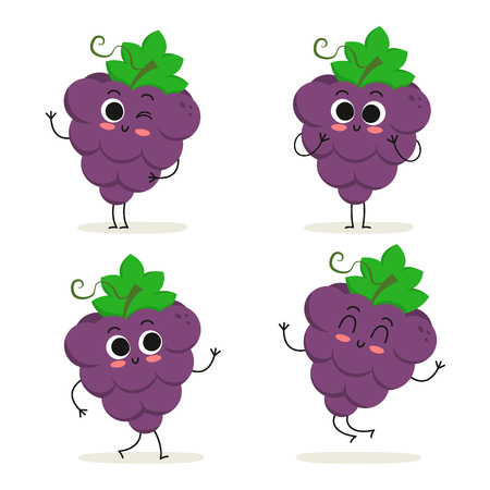 Grape. Cute fruit vector character set isolated on white