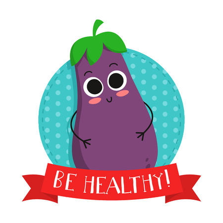 eco slogan: Eggplant, cute vegetable vector character badge, bright illustration on dotted round background with Be healthy! slogan Illustration