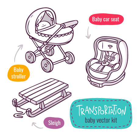 car seat: Vector line art icon set with baby products for children transportaion - baby stroller, car seat and sleigh - isolated on white