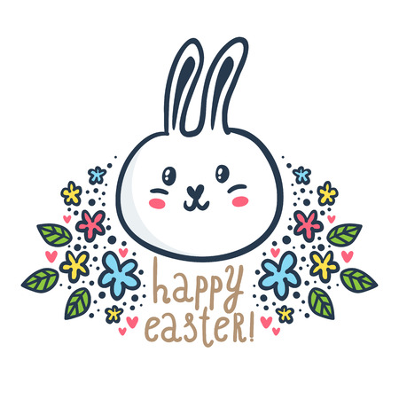 Cute bunny - vector Easter greeting card design template with bright sketchy character and floral decorations isolated on white