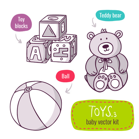 stuffed: Vector line art icon set with baby toys - toy blocks, teddy bear and ball - isolated on white