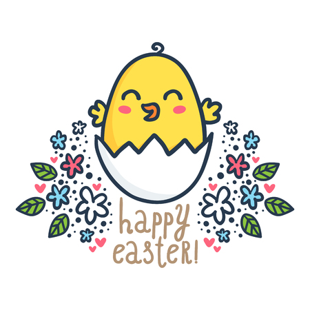 Happy chick - vector Easter greeting card design template with bright sketchy character and floral decorations isolated on white