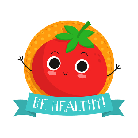 catchword: Tomato, cute vegetable vector character badge, bright illustration on dotted round background with Be healthy! slogan