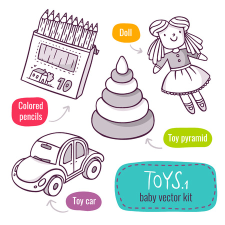 Vector line art icon set with baby toys - colored pencils, toy pyramid, car and doll - isolated on white Иллюстрация