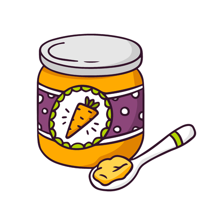 puree: Baby food, bright vector children illustration of glass jar with vegetable  puree for kids isolated on white