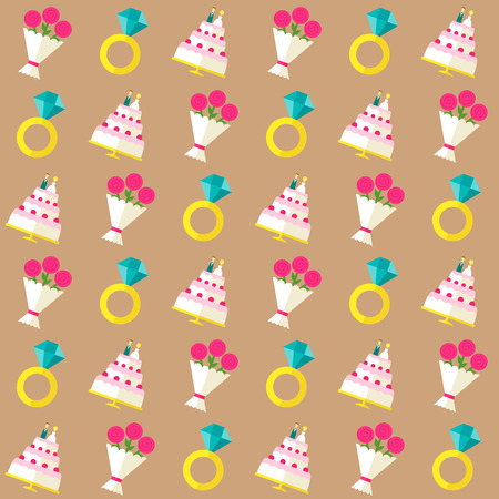 Vector seamless pattern with wedding symbols - cake with bride and groom figures, diamond ring and flower bouquet - in flat style