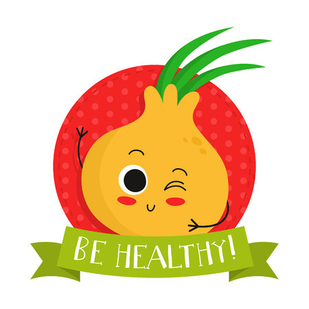 eco slogan: Onion, cute vegetable vector character badge, bright illustration on dotted round background with Be healthy! slogan