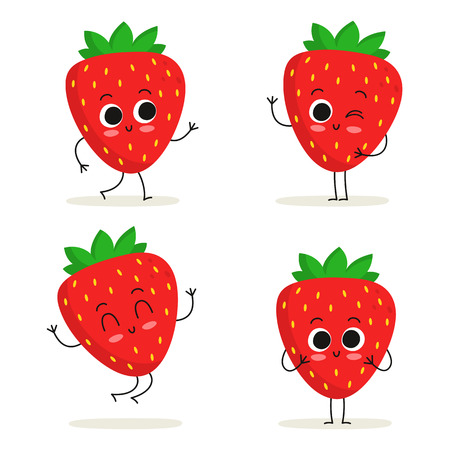 Strawberry. Cute fruit vector character set isolated on white Иллюстрация
