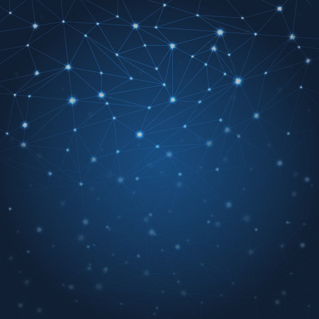 Vector abstract dark blue background with stars and constellations Иллюстрация