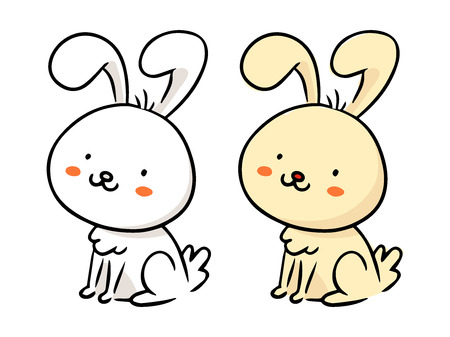Cute freehand cartoon vector character, funny rabbit, Easter bunny sketch in monochrome and in color isolated on white