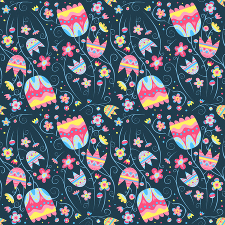 Floral vector seamless pattern, beautiful background with bright flowers