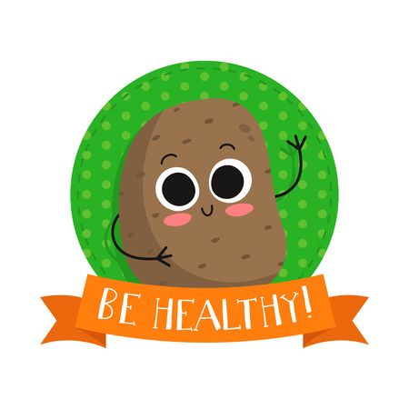 eco slogan: Potato, cute vegetable vector character badge, bright illustration on dotted round background with Be healthy! slogan