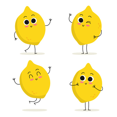 Lemon. Cute fruit vector character set isolated on white Illustration
