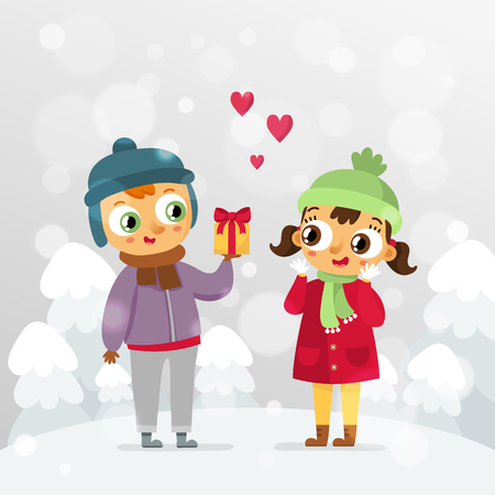 Romantic couple - St. Valentines Day vector greeting card design template with cute boy and girl in love with holiday gift on snowy forest background