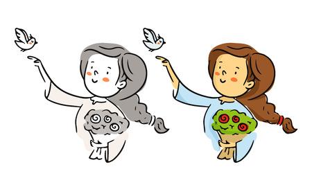 paloma caricatura: Linda de la historieta a mano alzada car�cter vectorial, mujer joven con el ramo de flores y p�jaros que vuelan, rom�ntica boceto en blanco y negro y en color aislado en blanco Vectores