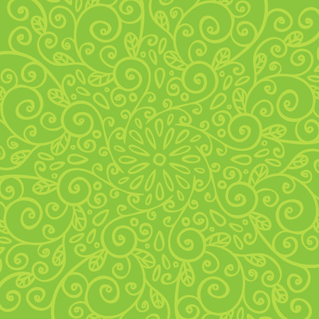 Vector abstract green background with beautiful hand drawn doodle ornament