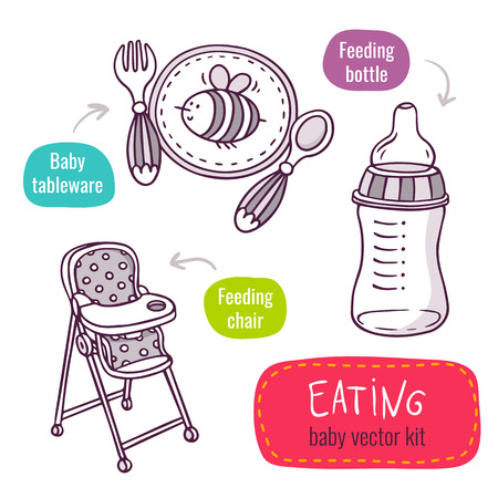 high chair: Vector line art icon set with baby products for feeding and eating - baby tableware, high feeding chair and milk bottle - isolated on white