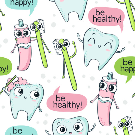 Vector seamless pattern with cute childish characters - tooth, toothpaste and toothbrush - and speech bubbles isolated on white background, dental hygiene theme