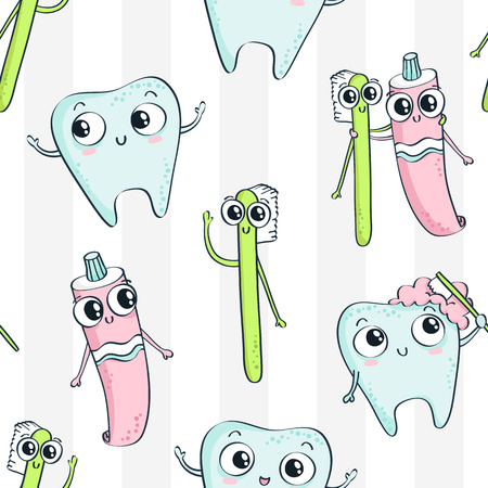 Vector seamless pattern with cute childish characters - tooth, toothpaste and toothbrush - on white striped background, dental hygiene theme