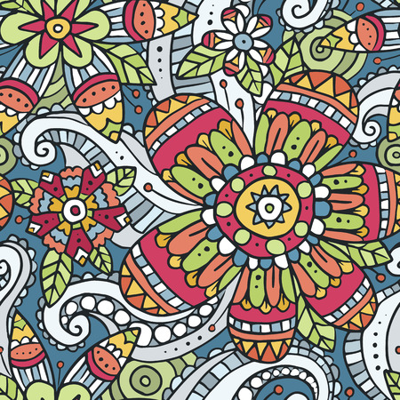 Vector seamless pattern with colorful floral doodle ornament