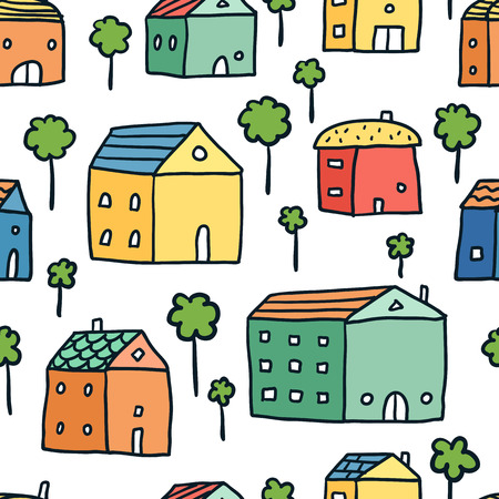Vector seamless pattern with cute bright doodle houses and trees