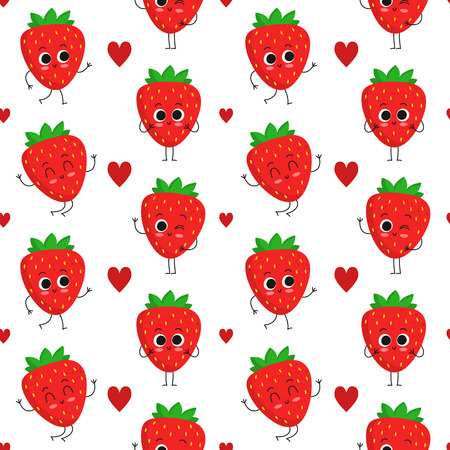 Strawberry, vector seamless pattern with cute fruit characters and hearts isolated on white