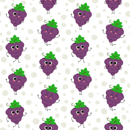 Grapes, vector seamless pattern with cute fruit characters on dotted background Иллюстрация