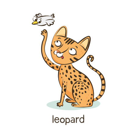 Leopard cat. Cute vector cartoon cat character catching flying bird isolated on white with breed caption