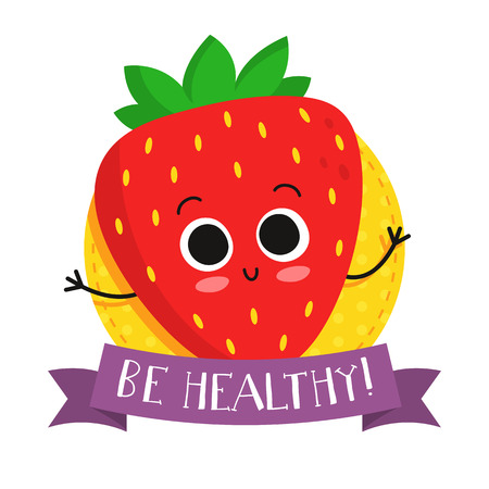eco slogan: Strawberry, cute fruit vector character badge, bright illustration on dotted round background with Be healthy! slogan