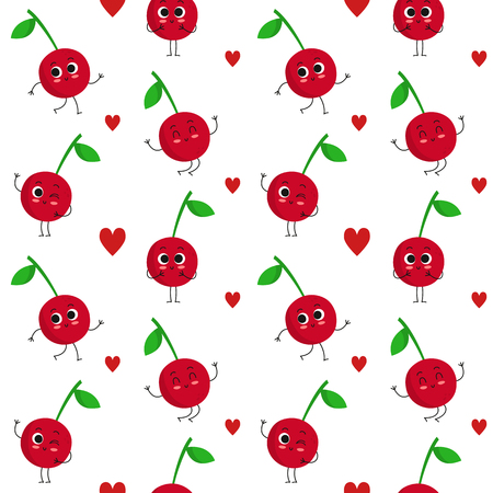 Cherry, vector seamless pattern with cute fruit characters and hearts isolated on white