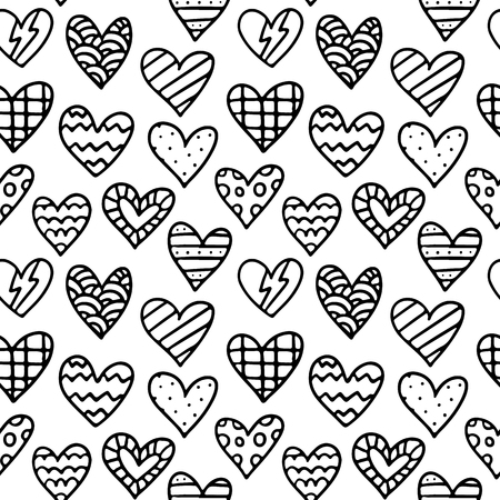 white day: Black and white vector seamless pattern with outline doodle hearts - St. Valentines Day background