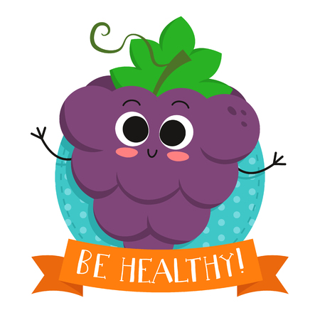 eco slogan: Grapes, cute fruit vector character badge, bright illustration on dotted round background with Be healthy! slogan