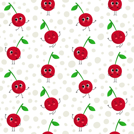 Cherry, vector seamless pattern with cute fruit characters on dotted background Illustration